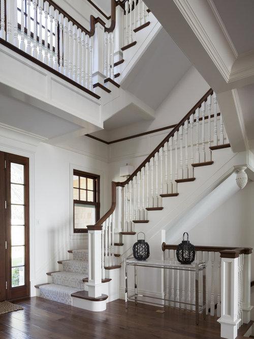 Elegant Wooden U Shaped Staircase Photo In Boston