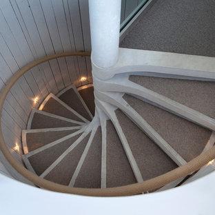 Esempio di una scala a chiocciola stile marinaro di medie dimensioni con pedata in cemento, nessuna alzata e parapetto in materiali misti
