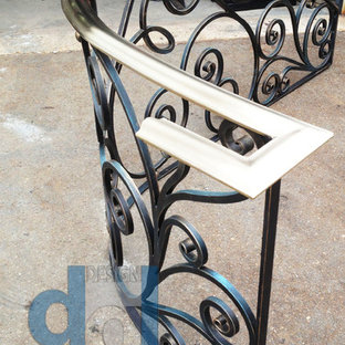 Caribou Rd modern spiral solid brass and  wrought iron railing