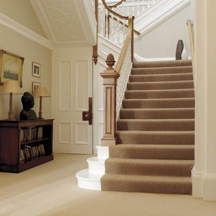 Inspiration for a huge transitional painted u-shaped staircase remodel in San Francisco with painted risers