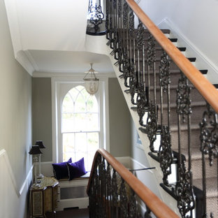Design ideas for a large wood floating staircase in London.