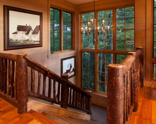 Rustic Wooden U Shaped Wood Railing Staircase Idea In Other