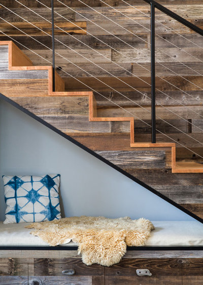 Rustic Staircase by Atmosphere Design Build