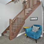 1990s Home Gets Modern Makeover Transitional Staircase