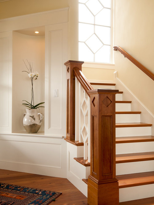 Superior Example Of An Ornate Wooden Staircase Design In Boston