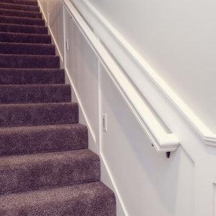 シーダーラピッズのカーペット敷きのおしゃれな直階段 (木材の手すり) の写真