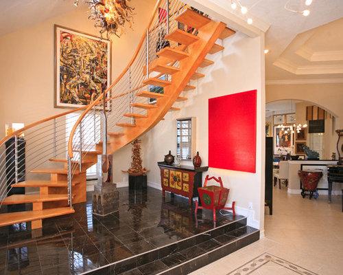photos et id es d co d 39 escaliers courbes asiatiques. Black Bedroom Furniture Sets. Home Design Ideas