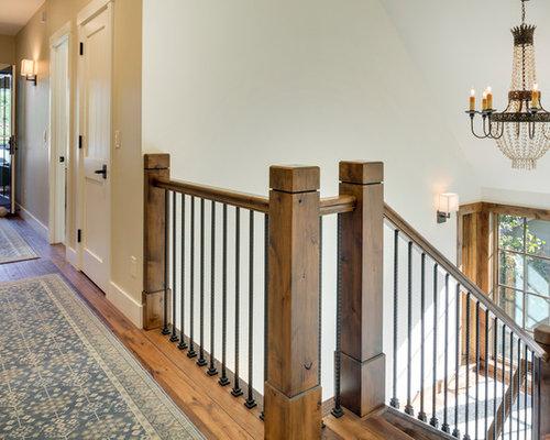diseo de escalera en u rstica con escalones de madera y de madera
