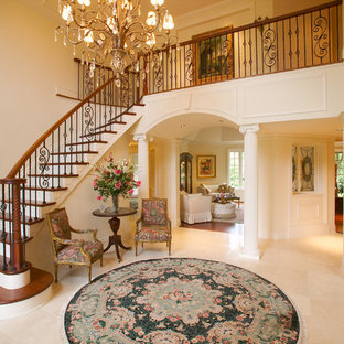 Inspiration for a timeless wooden straight mixed material railing staircase remodel in Other with painted risers