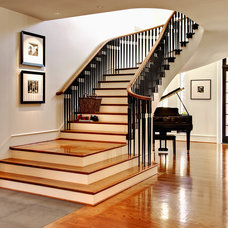 Transitional Staircase by dustin.peck.photography.inc