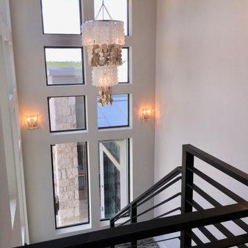 chandelier in stairwell