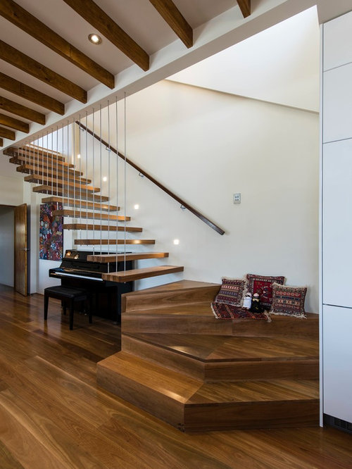 Staircase   Contemporary Wooden L Shaped Open And Wood Railing Staircase  Idea In Melbourne