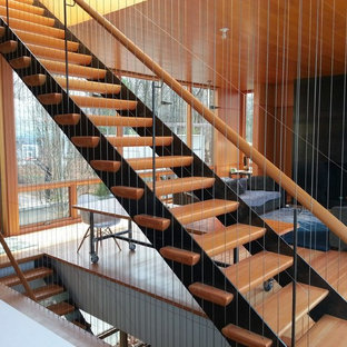 Staircase - contemporary wooden straight open staircase idea in Other