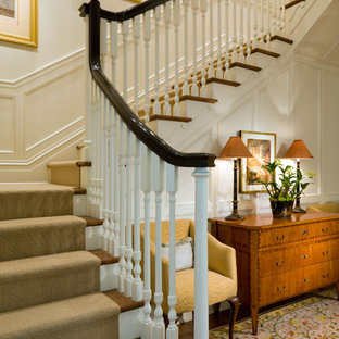Inspiration for a classic wood staircase in Denver.