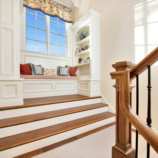 Staircase - large traditional wooden u-shaped mixed material railing staircase idea in Chicago with painted risers
