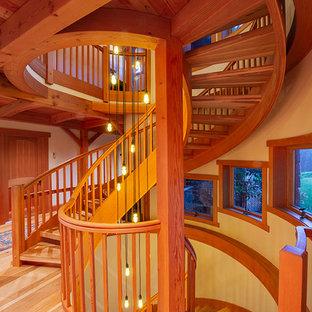 ニューヨークの広い木のエクレクティックスタイルのおしゃれならせん階段 (木の蹴込み板、木材の手すり) の写真