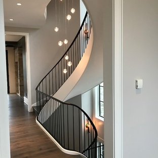 Inspiration for a huge contemporary painted spiral metal railing staircase remodel in Chicago with painted risers