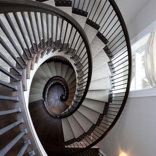 Ejemplo de escalera de caracol, tradicional, extra grande, con escalones de madera, contrahuellas de madera y barandilla de varios materiales