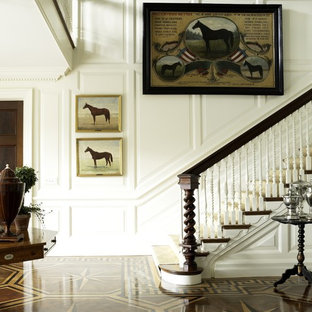 Inspiration for a victorian wooden staircase remodel in New York