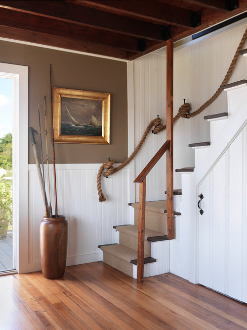 beach style cottage staircase ideas