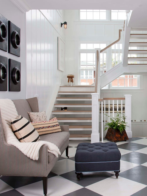 Open staircase houzz for Living room designs with staircase