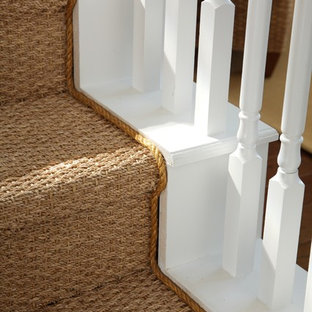 Mid-sized coastal painted straight wood railing staircase photo in Tampa with painted risers