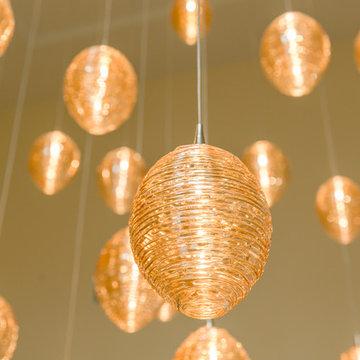 COCOON   Custom Stairwell Chandelier   Blown Glass Vaulted Ceiling Light Fixture