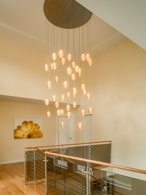 Cocoon Custom Stairwell Chandelier Blown Glass Vaulted Ceiling Light Fixture