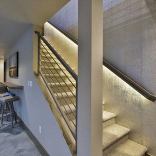 デンバーの中サイズのカーペット敷きのコンテンポラリースタイルのおしゃれな直階段 (カーペット張りの蹴込み板、金属の手すり) の写真