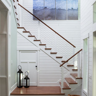 Inspiration For A Large Beach Style Wooden U Shaped Cable Railing Staircase  Remodel In Miami