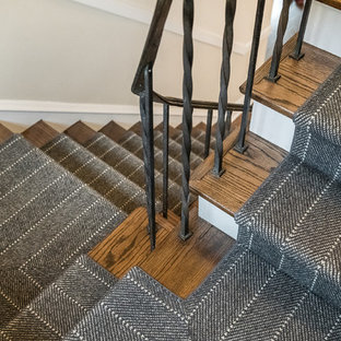 Inspiration for a mid-sized contemporary wooden straight metal railing staircase remodel in Chicago with carpeted risers