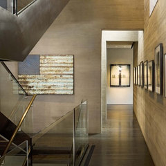 modern staircase by b+g design inc.
