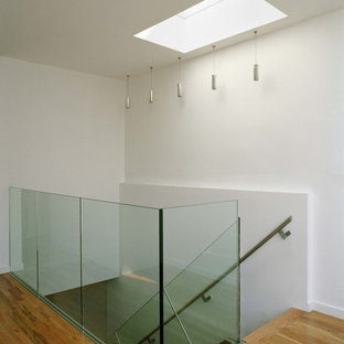 Mid-sized minimalist wooden straight metal railing staircase photo in New York with glass risers