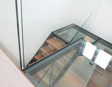 Contemporary floating glass staircase