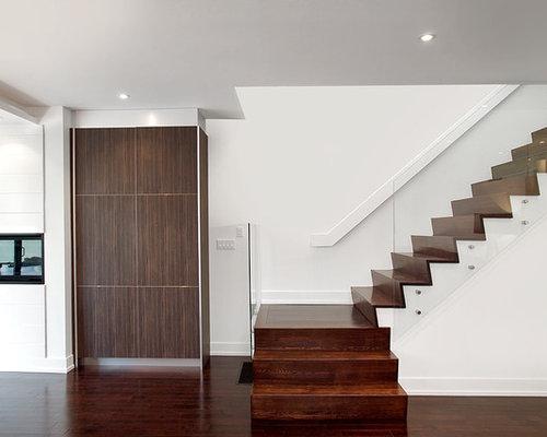 Minimalist Wooden Glass Railing Staircase Photo In Toronto