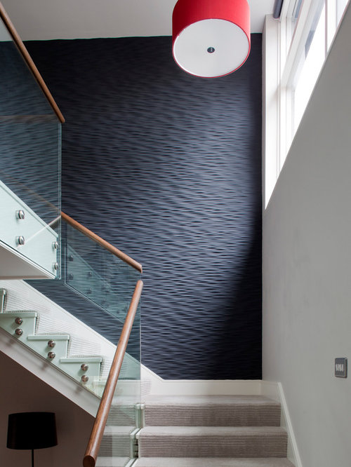 Contemporary carpeted staircase idea in Cornwall