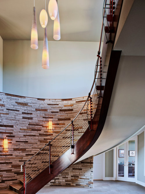 Inspiration for a mid sized contemporary floating staircase remodel in austin