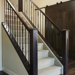 Foto di una scala a rampa dritta design con pedata in moquette, alzata in moquette e parapetto in materiali misti