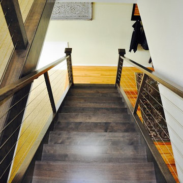 Contemporary Rustic Staircase and Railing