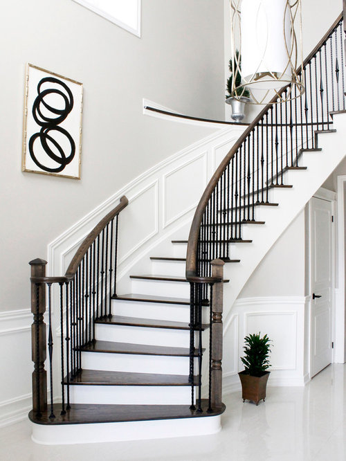 Foyer Stairs Questions : Black and white foyer houzz