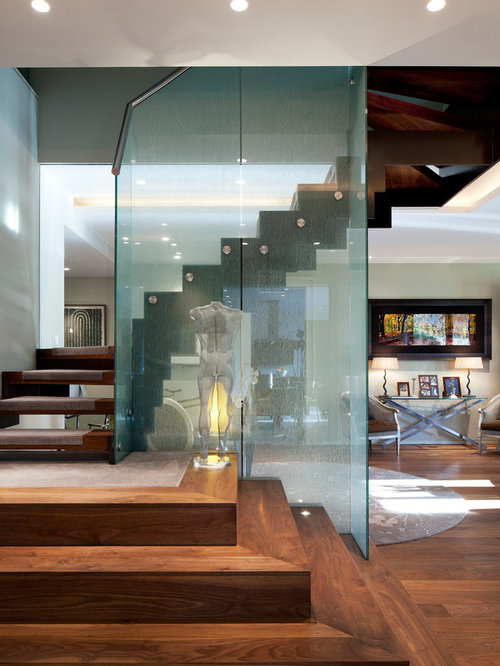Glass Partition Wall on farmhouse living room