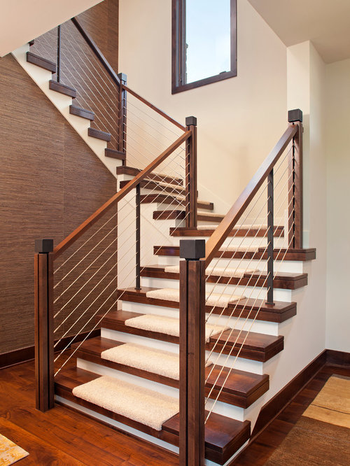 Trendy Carpeted Cable Railing Staircase Photo In Minneapolis