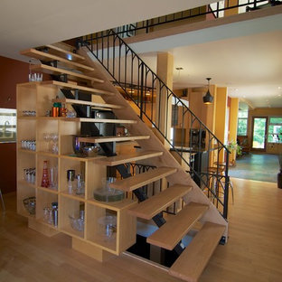 Staircase - mid-sized contemporary wooden straight open staircase idea in Toronto