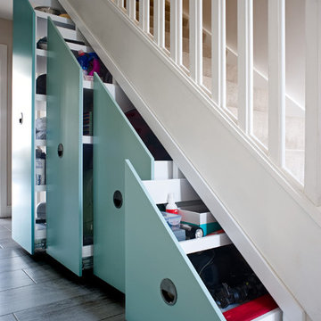 Contemporary under stairs storage solutions