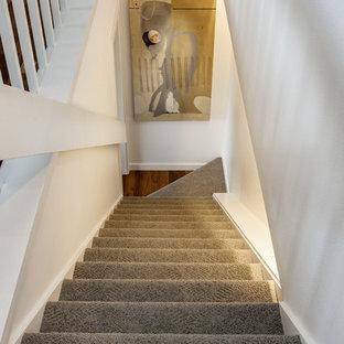 Idee per una scala a rampa dritta tradizionale di medie dimensioni con pedata in moquette, alzata in moquette e parapetto in legno