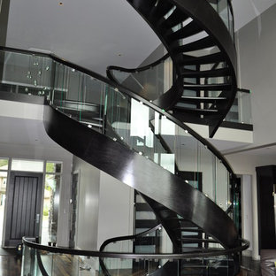 Inspiration for a large timeless painted spiral open staircase remodel in Edmonton