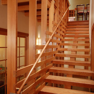 Staircase - small craftsman wooden straight open staircase idea in Other