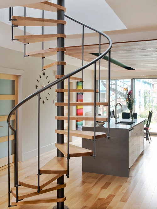 Wood spiral staircase design ideas remodel pictures houzz for 2 story spiral staircase