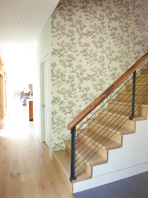 Trendy Wooden Cable Railing Staircase Photo In New York