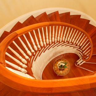 他の地域の巨大な木のトラディショナルスタイルのおしゃれならせん階段 (フローリングの蹴込み板、木材の手すり) の写真